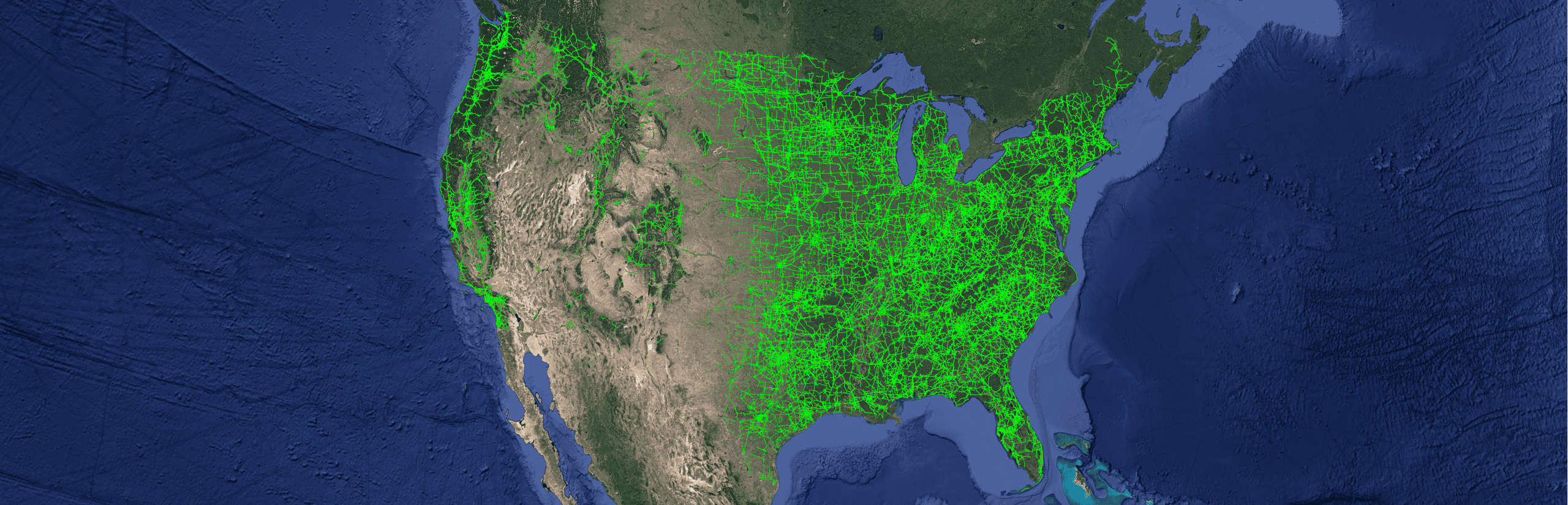 US transmission power grid on map